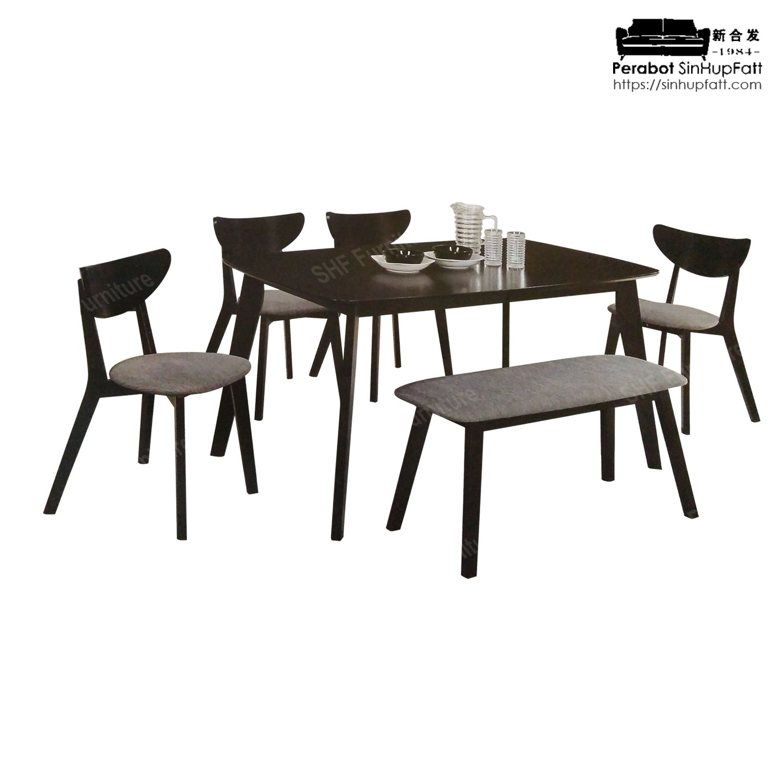 Rubber Wood Dining Set With 1 Table 4 Chairs Bench Chair