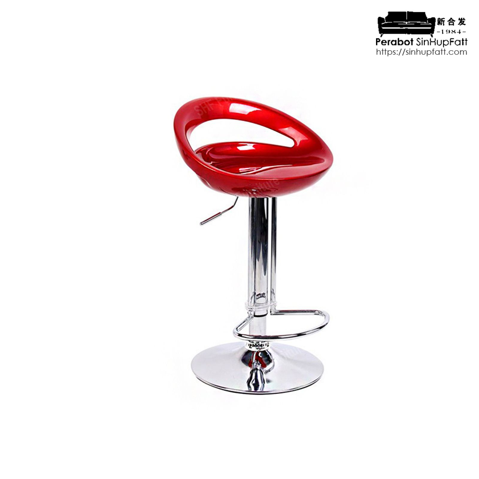 Chrome Finished Metal Base Height Adjustable And 360