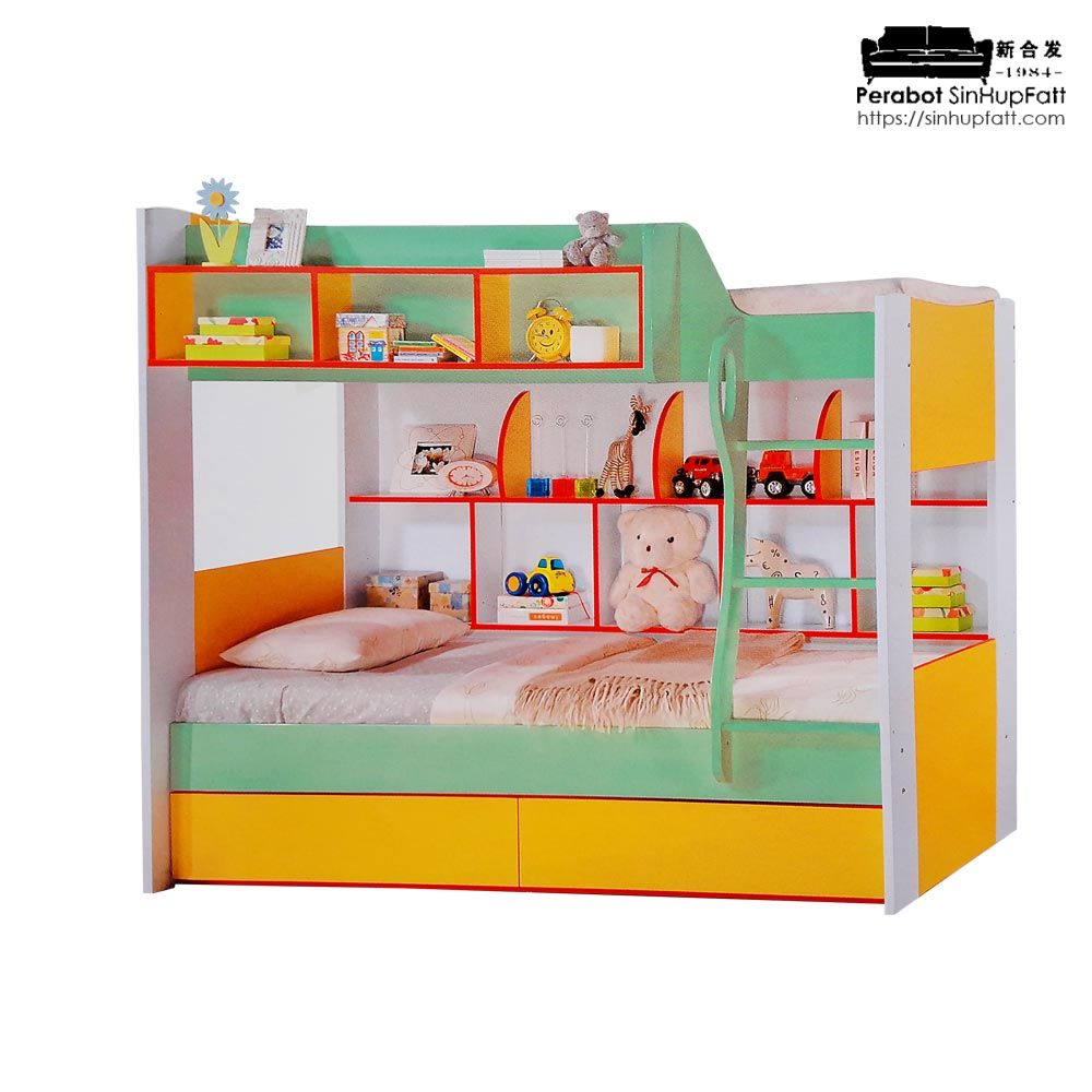 Cartoon Single Bunk Bed With Pull Out