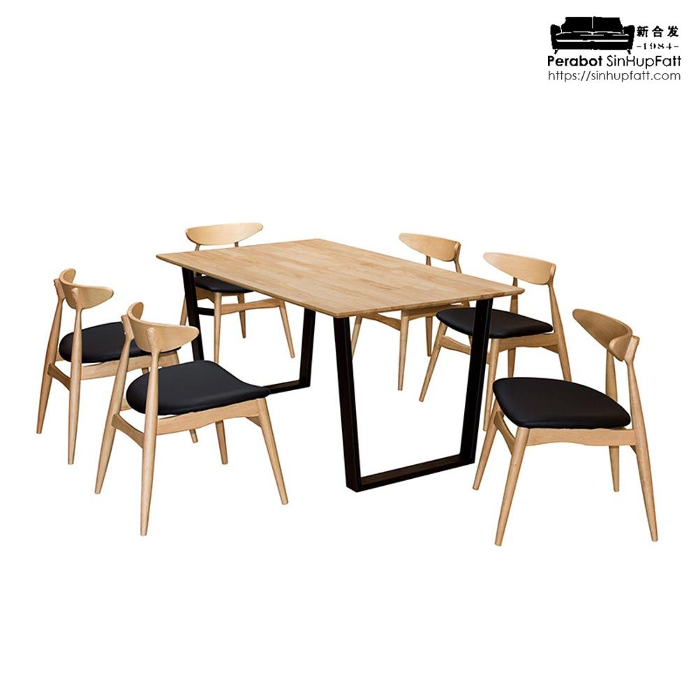 Solid Rubber Wood Top Dining Set And Backrest Plywood Chair With Metal Leg Table