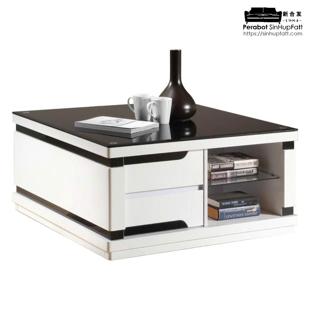 Material Coffee Table.Glass Top And High Gloss Material For Coffee Table With Drawers And Open Shelf Storage
