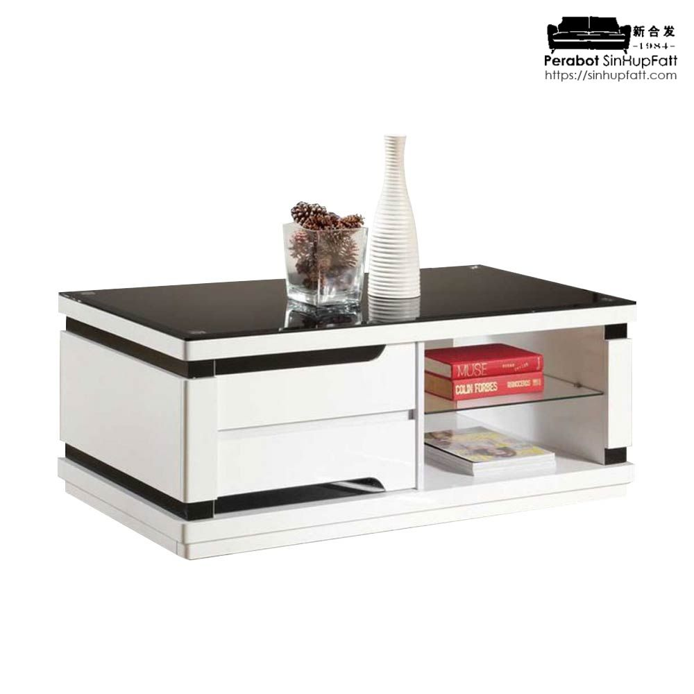 High Gloss With Glass Top Coffee Table With Drawers And Open Shelf