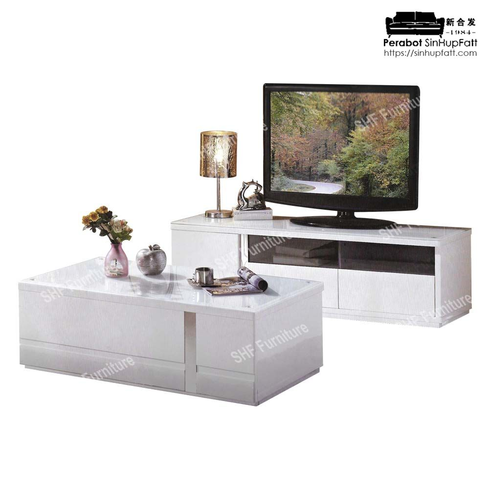 White Color Mdf Board With Glass Top For Tv Cabinet And Coffee